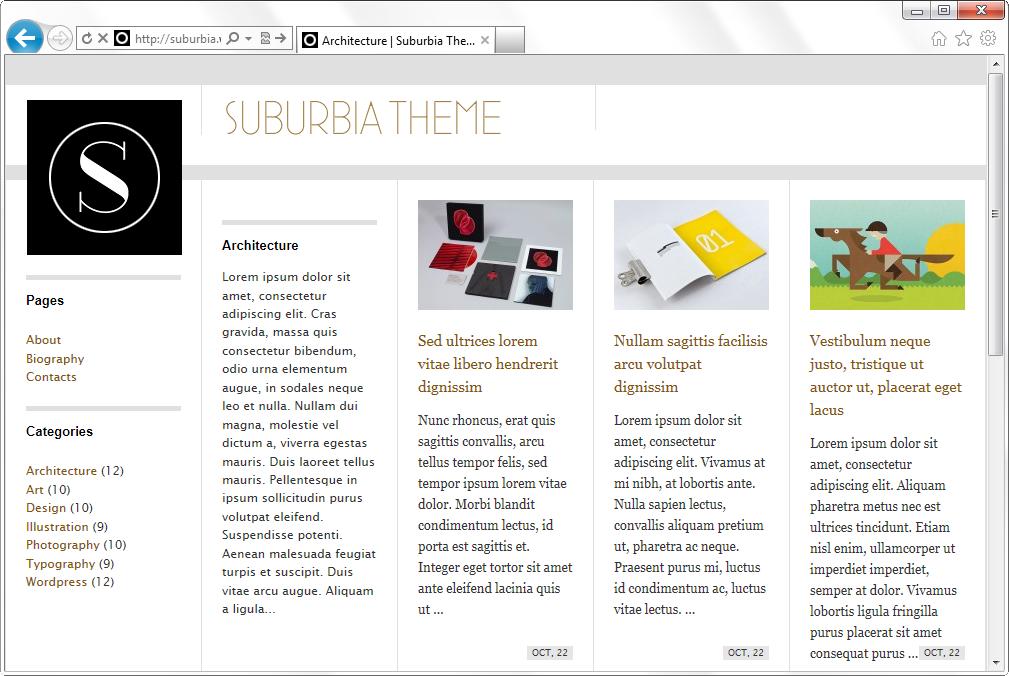 Suburbia - простая тема для создания фотоблога и портфолио