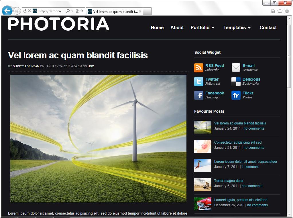 Photoria - темная тема для фотоблога и портфолио