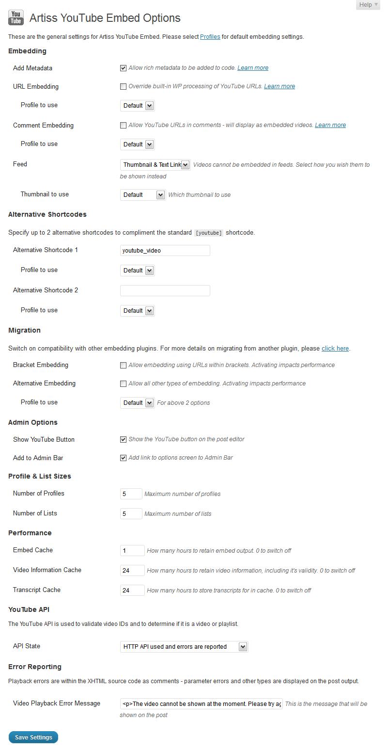 Artiss YouTube Embed - удобный плагин для работы с видео