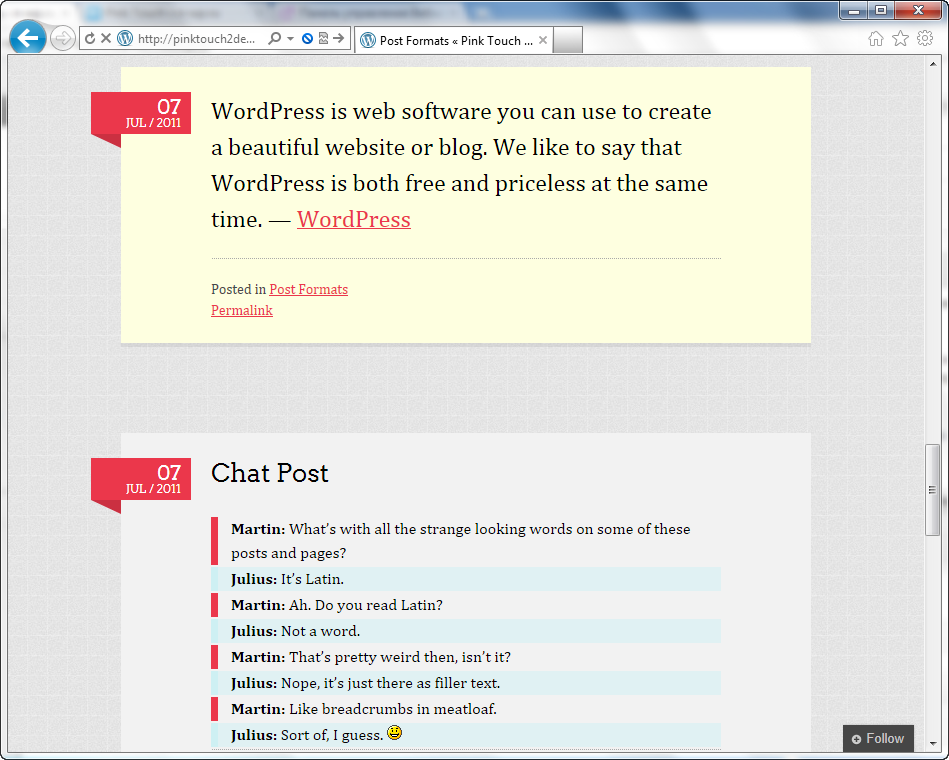 Pink Touch 2 - простая и элегантная тема для личного блога