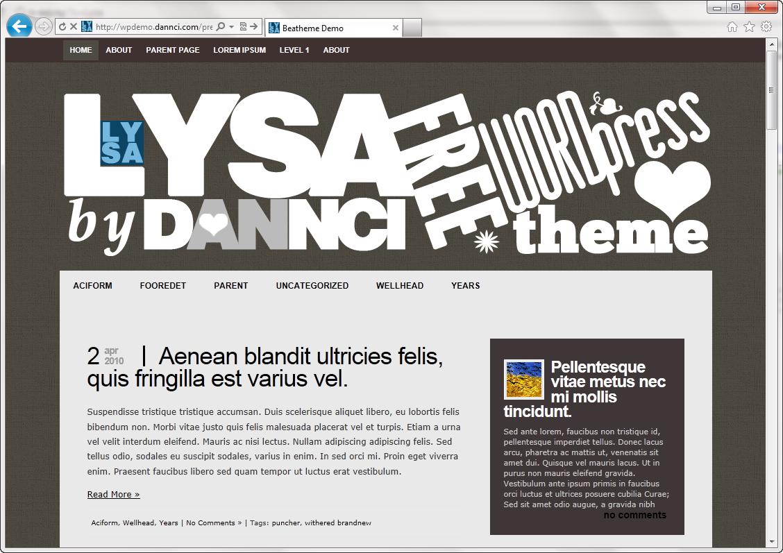 Lysa - экстравагантная тема со множеством площадок для виджетов | n-wp.ru