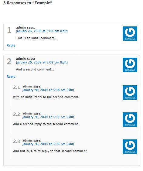 Как пронумеровать комментарии - Greg's Threaded Comment Numbering (1)