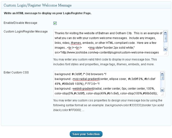 Как создать индивидуальное сообщение на странице входа - Custom Welcome Messages (3)