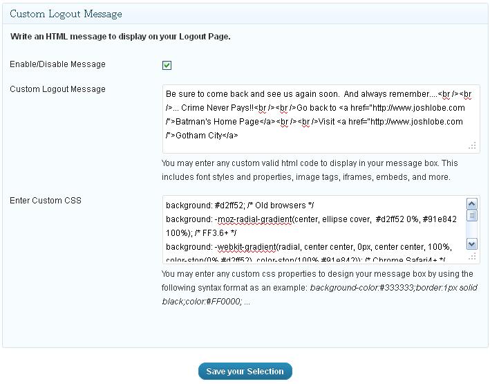 Как создать индивидуальное сообщение на странице входа - Custom Welcome Messages (2)