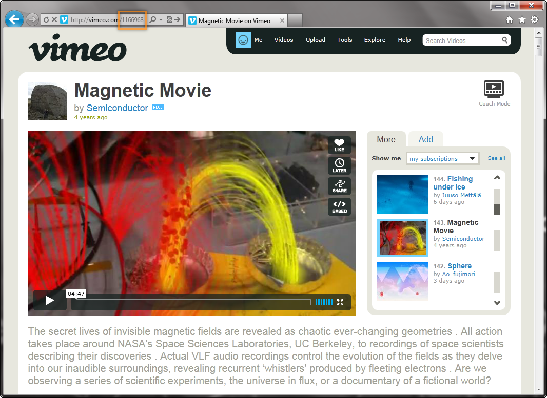 Шорткод для вывода миниатюры видео из Vimeo