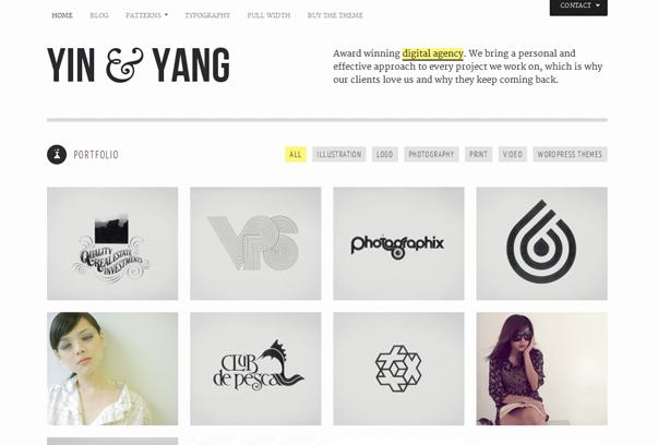 30 премиум тем для портфолио на WordPress - Yin & Yang