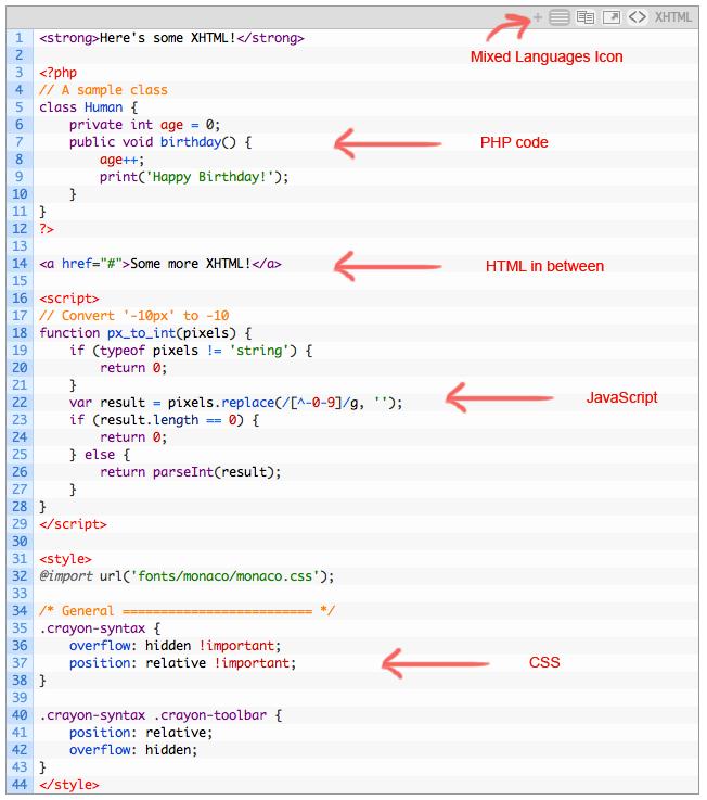 Crayon Syntax Highlighter - плагин для вставки и подсветки программного кода (2)