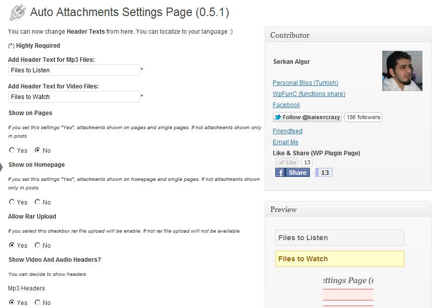Auto Attachments - плагин для добавления файлов разных форматов в пост (2)