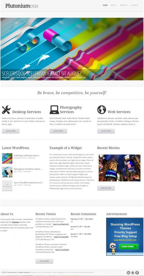 Plutoniumous - тема для личного блога и бизнес-сайта | n-wp.ru