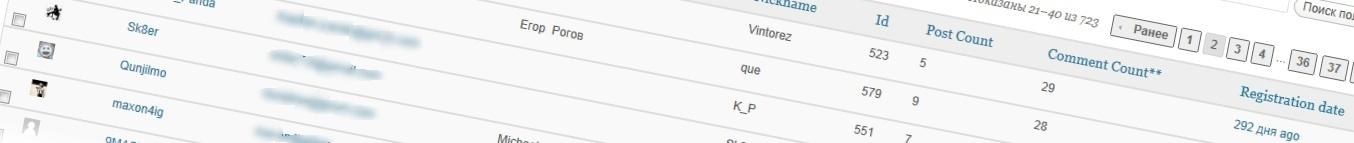 Расширенный список пользователей в админке - плагин amr users | n-wp.ru