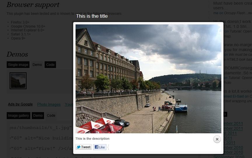 Вывод изображений и видео поверх содержимого - плагин prettyPhoto Media (1)