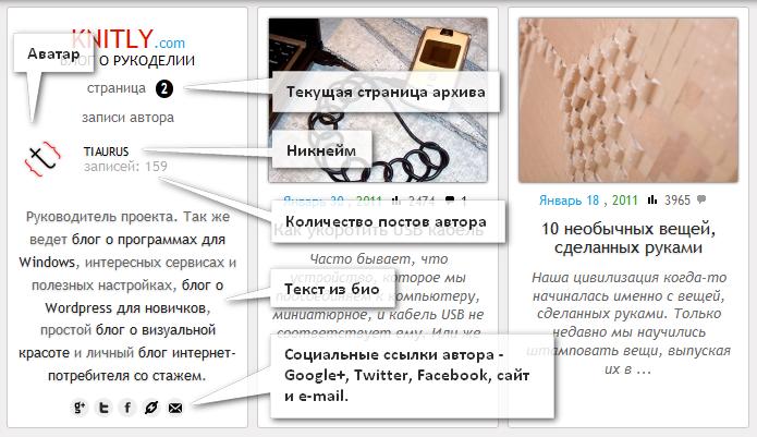 Как в архиве постов определенного автора вывести его дополнительные данные | n-wp.ru