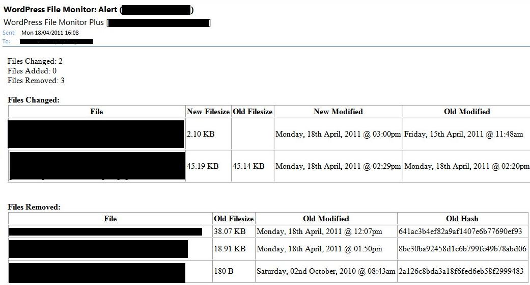 WordPress File Monitor Plus - отслеживание файлов, которые были изменены, добавлены или удалены (1)