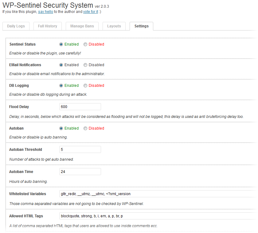 WP-Sentinel - плагин для защиты от опасных HTTP-запросов | n-wp.ru
