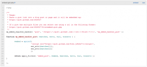 Автоматический вывод программного кода в содержимом поста, используя сервис Gist | n-wp.ru