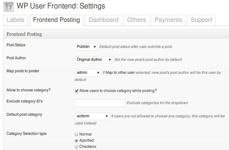WP User Frontend - плагин для создания формы добавлени постов и редактирования своего профиля пользователями, не заходя в административную часть блога (9)