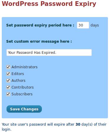 WordPress Password Expiry - плагин, определяющий срок действия паролей пользователей (2)