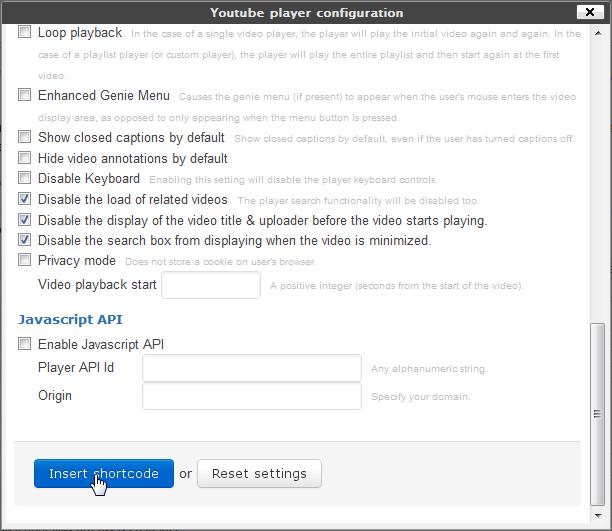Youtube shortcode - плагин для создания шорткода вставки видео из YouTube, с возможностью настройки всех параметров воспроизведения (1)
