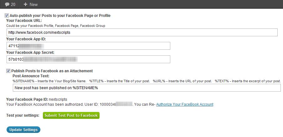 NextScripts - плагин для автоматической отправки постов в социальные сети (8)