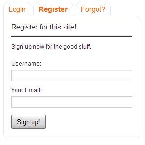 Tabbed Login Widget - формы входа в блог, регистрации и восстановления пароля в одном виджете (3)