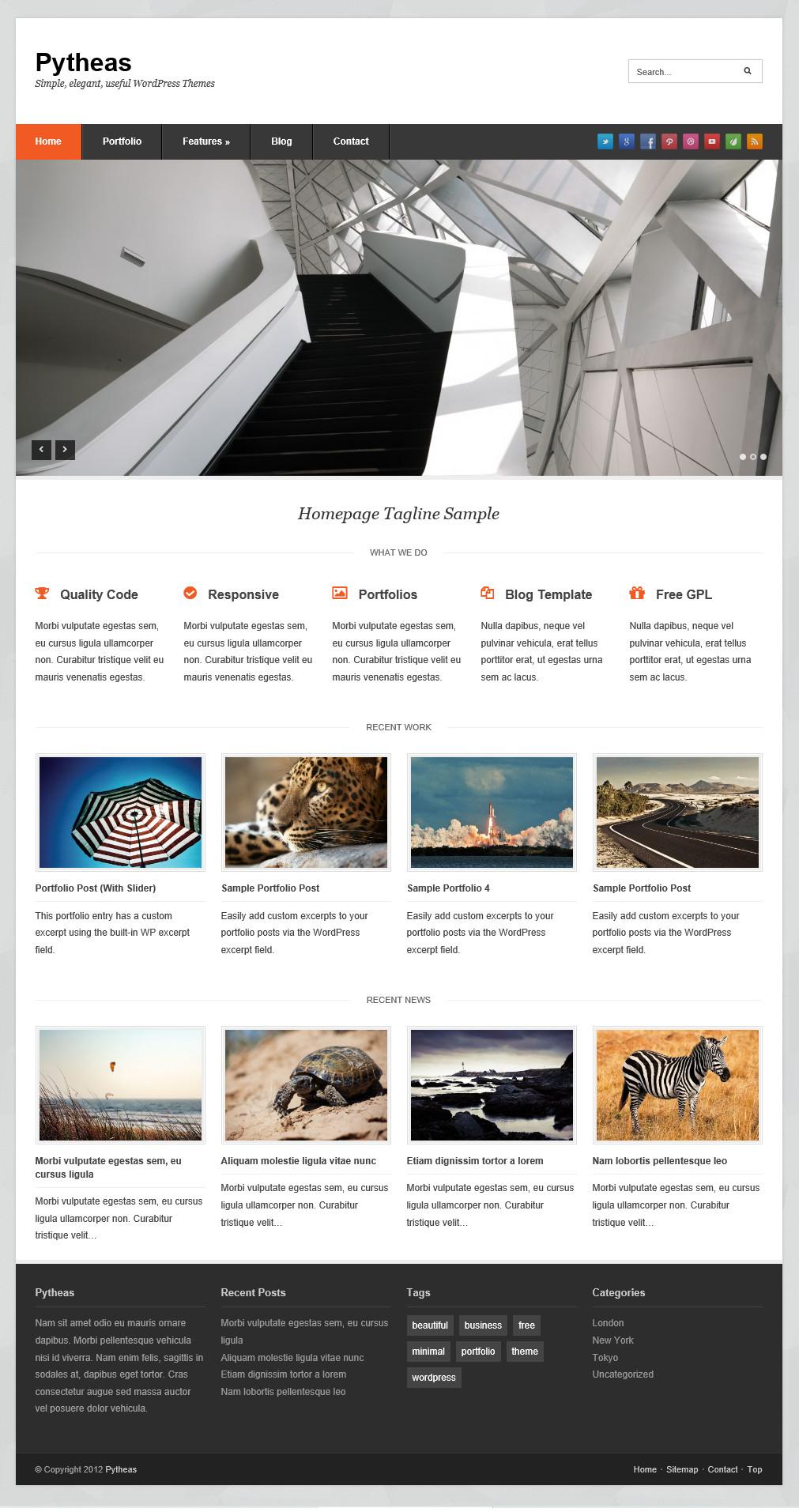 Pytheas - отзывчивая тема для корпоративного блога   n-wp.ru