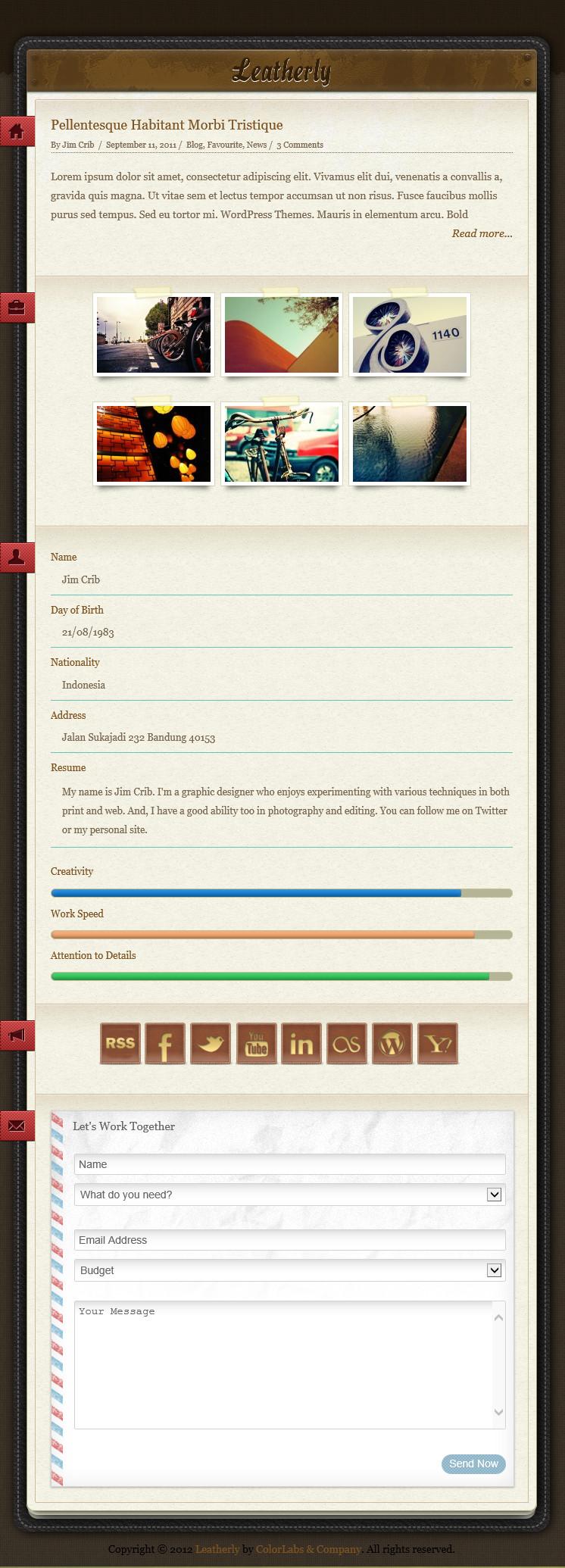 Leatherly - стильная тема для личного блога с оригинальным оформлением | n-wp.ru