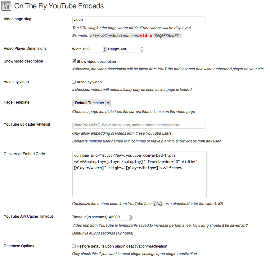 On The Fly YouTube Embeds - плагин для воспроизведения видео на отдельной странице, создаваемой автоматически (2)