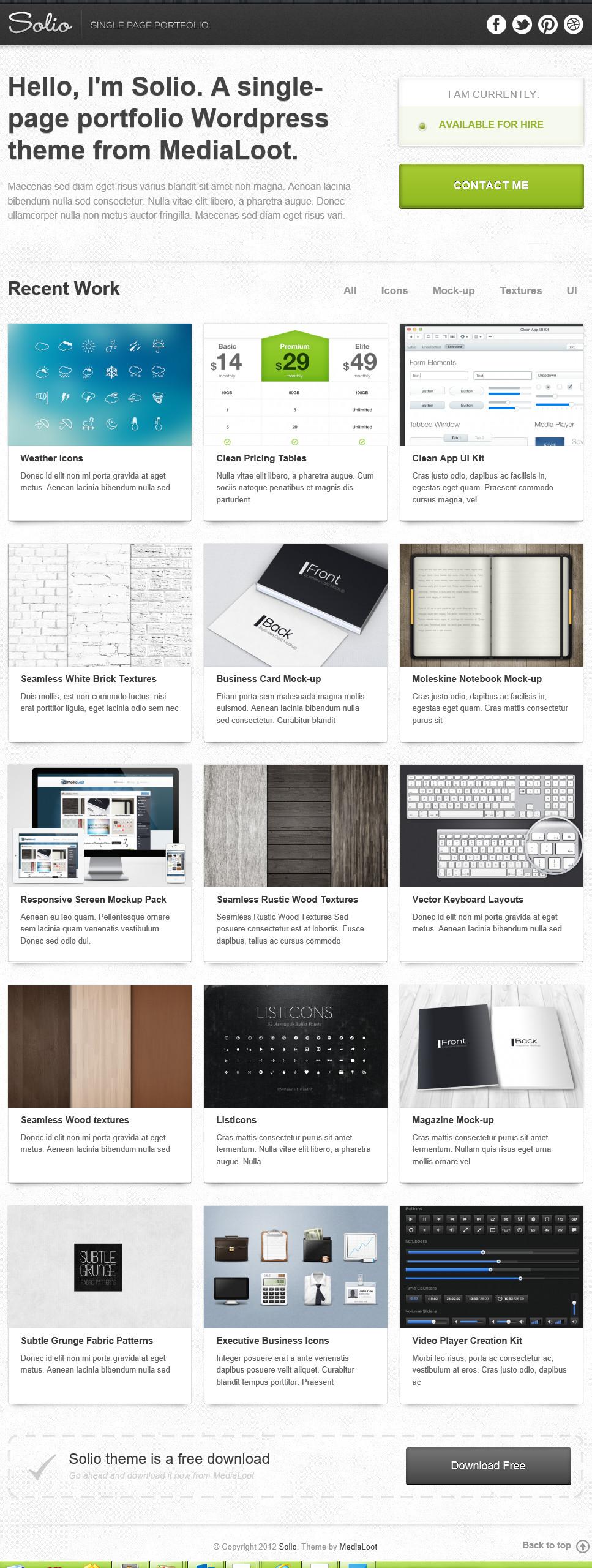 Solio - одностраничная тема для создания портфолио и сайта-визитки | n-wp.ru