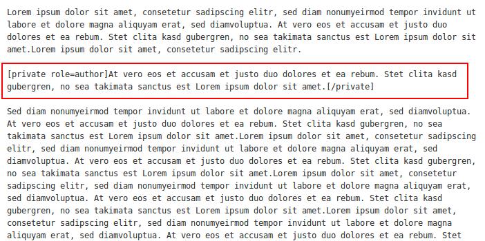 Скрытый текст в постах с помощью плагина Private content (2)