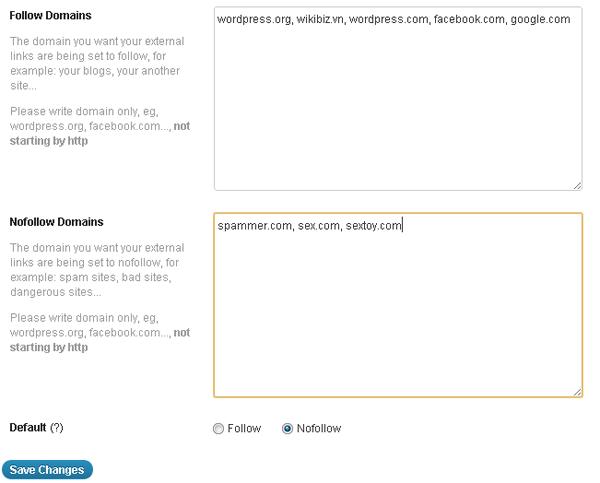 Follow Nofollow Control - плагин для управления внешними ссылками в постах | n-wp.ru