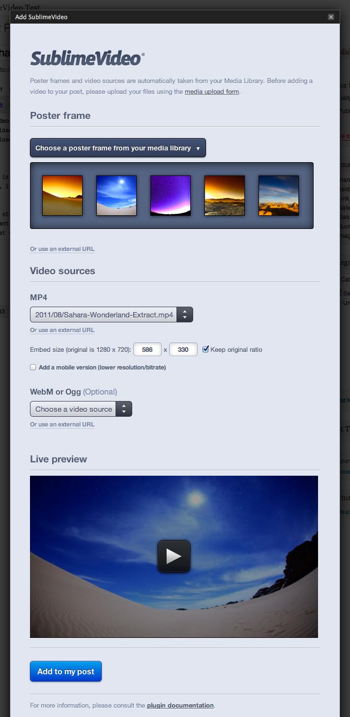 SublimeVideo - HTML5 видео плеер с возможностью выбора постера, мобильной версией и поддержкой низкого/высокого разрешения (2)