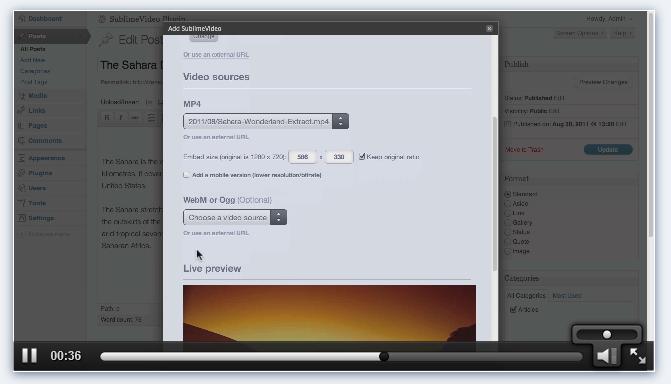 SublimeVideo - HTML5 видео плеер с возможностью выбора постера, мобильной версией и поддержкой низкого/высокого разрешения | n-wp.ru