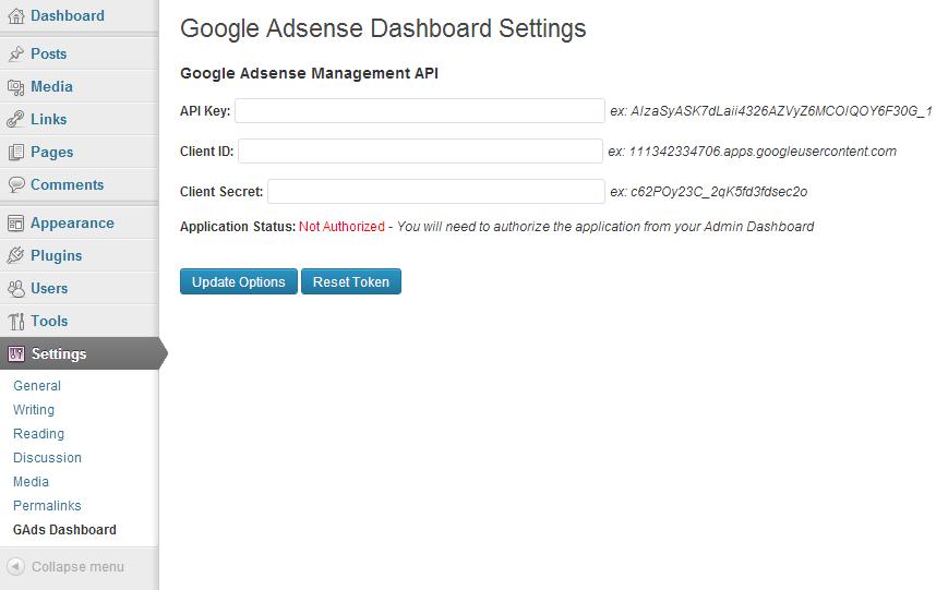 Google Adsense Dashboard for WP - плагин для просмотра финансовой статистики в административной части блога (4)