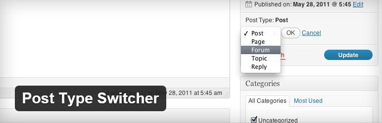 Post Type Switcher - плагин для конвертирования постов в страницы и записи пользовательского типа | n-wp.ru