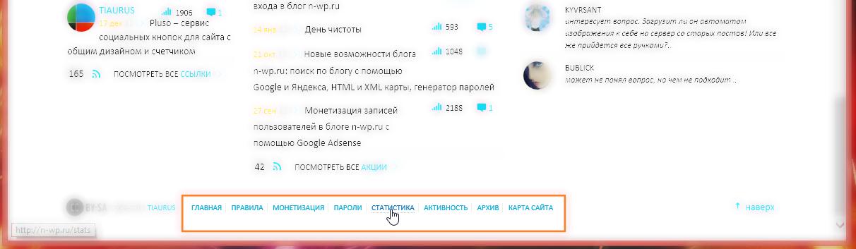 Изменения в блоге: публикация записей, профиль, комментарии текущего пользователя, активность пользователей, статистика посещений (15)