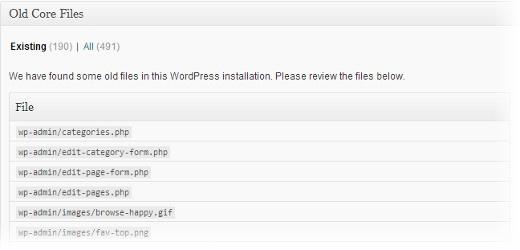 Как удалить ненужные файлы, оставшиеся после обновления WordPress - плагин Old Core Files (1)