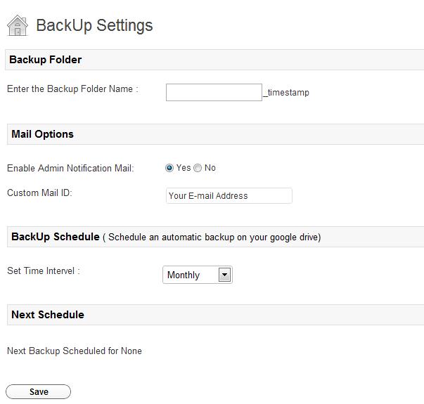 Google Drive for WordPress - плагин для создания резервных копий всей структуры сайта на WordPress, автоматически сохраняемых в облачном хранилище (3)
