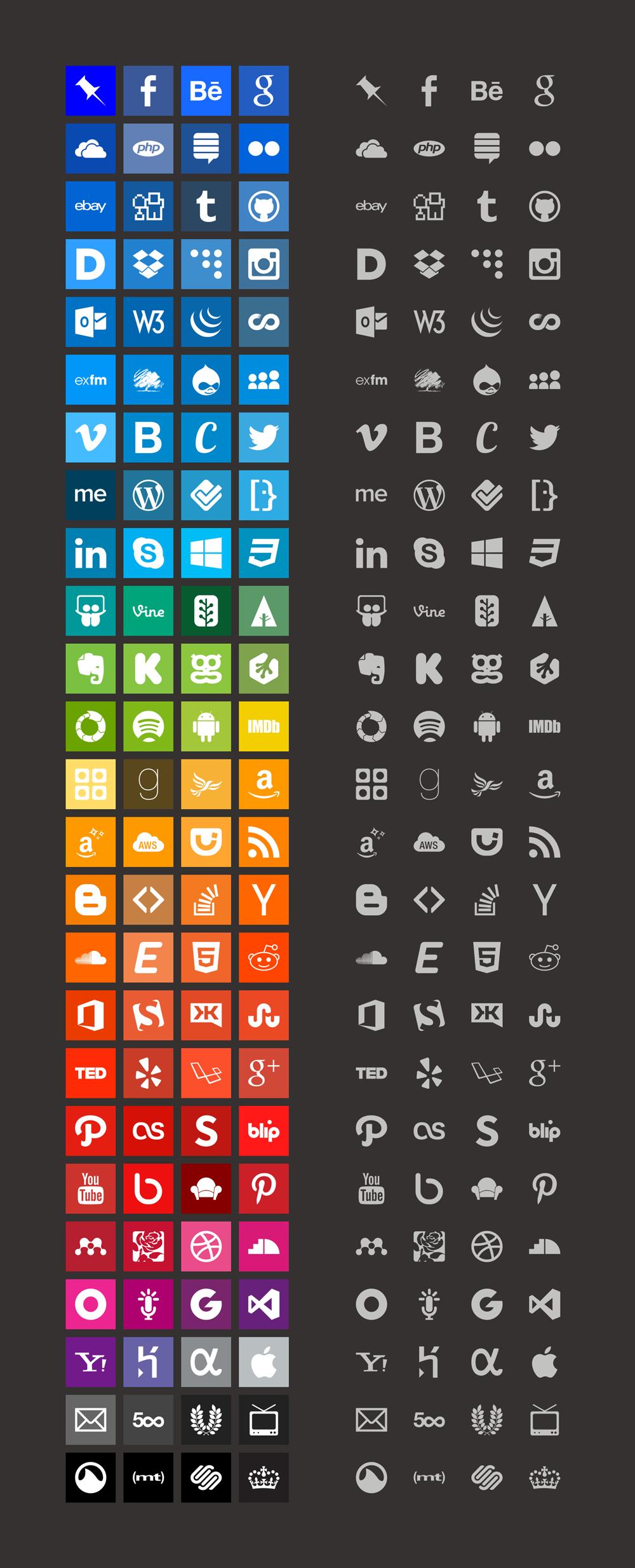 Simple Icons - большой и бесплатный набор иконок известных в интернете брендов, имен и названий в минималистичном стиле
