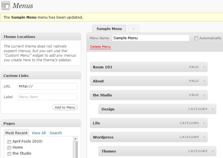 Настройка стилей оформления меню в WordPress