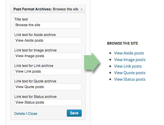 Виждет ссылок на архивы постов разных форматов
