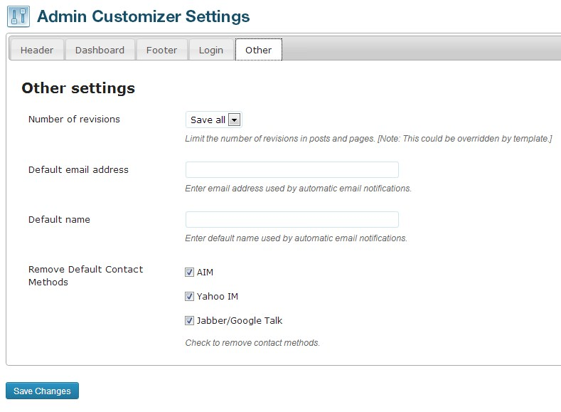Admin Customizer - плагин для настройки административной части блога (1)