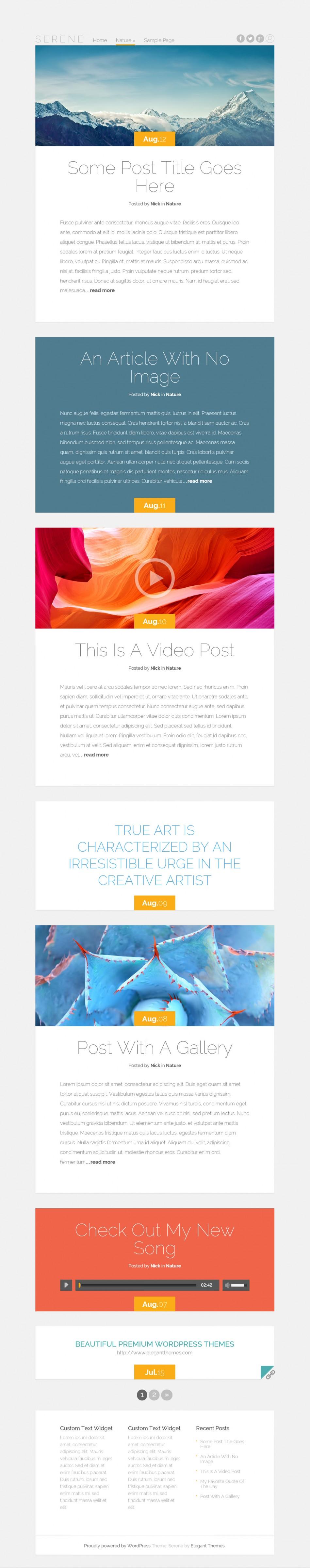 Serene - элегантная тема с адаптивным дизайном для личного блога   n-wp.ru
