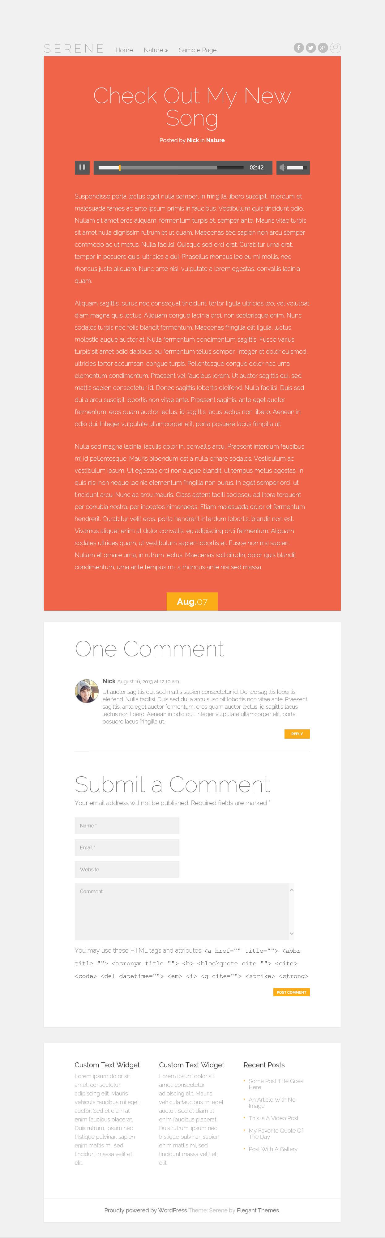 Serene - элегантная тема с адаптивным дизайном для личного блога (1)