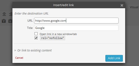 Rel Nofollow Checkbox — плагин для добавления атрибута nofollow при вставке ссылки в пост в редакторе | n-wp.ru