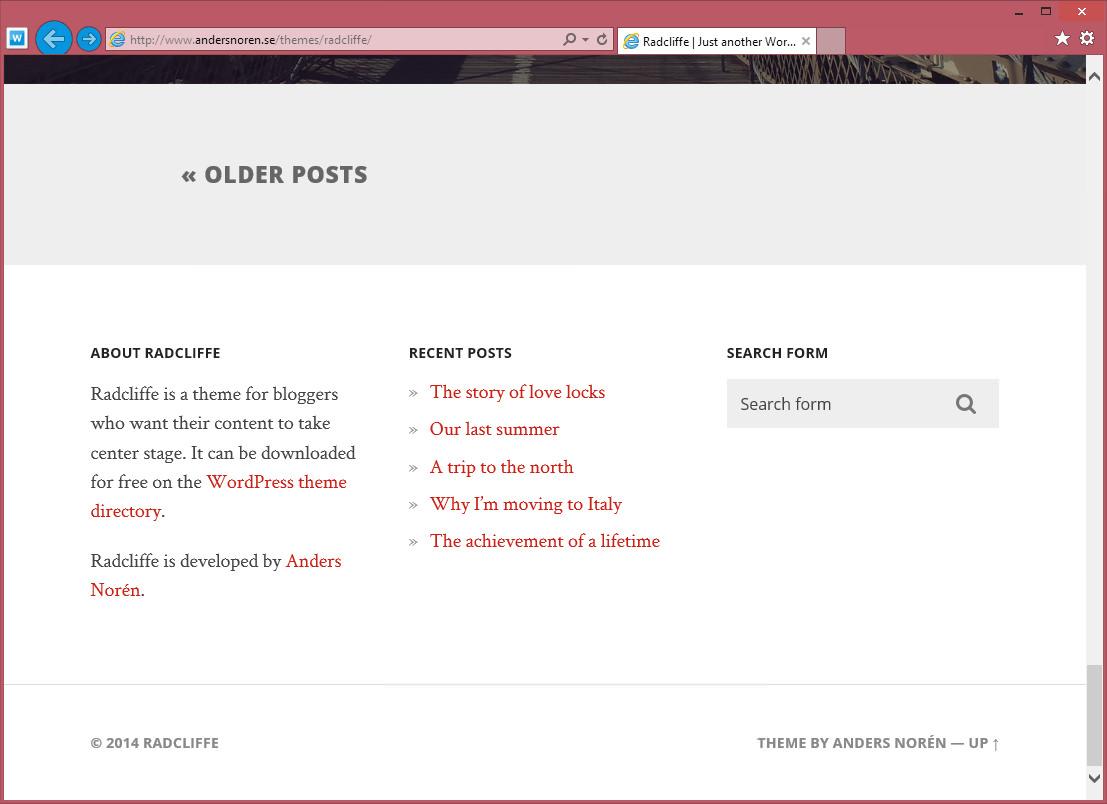 Radcliffe — минималистичная тема для личного блога с большими картинками