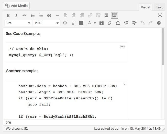 WordPress Rainbow Hilite — плагин для подсветки синтаксиса программного кода