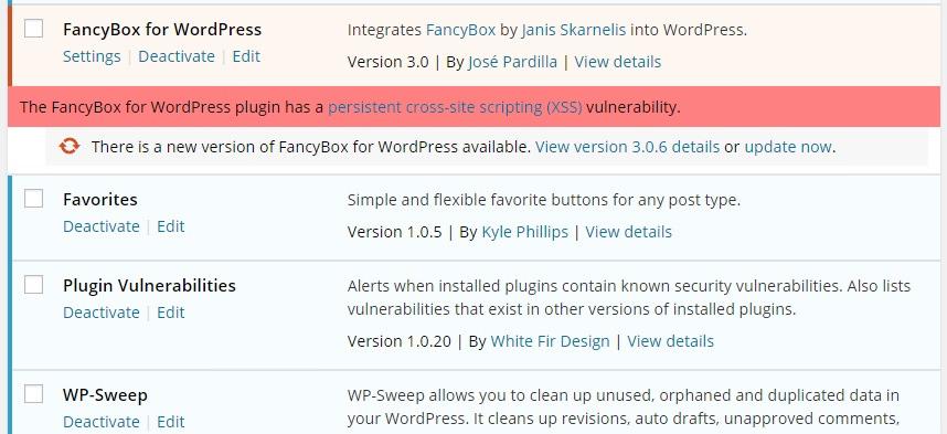 Plugin Vulnerabilities — плагин, сообщающий о найденных проблемах с безопасностью в используемых вами плагинах