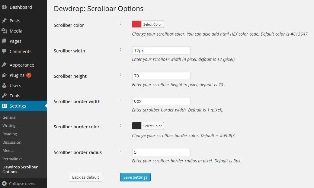 Dewdrop Custom Scrollbar — плагин для настройки вида скроллбара на сайте