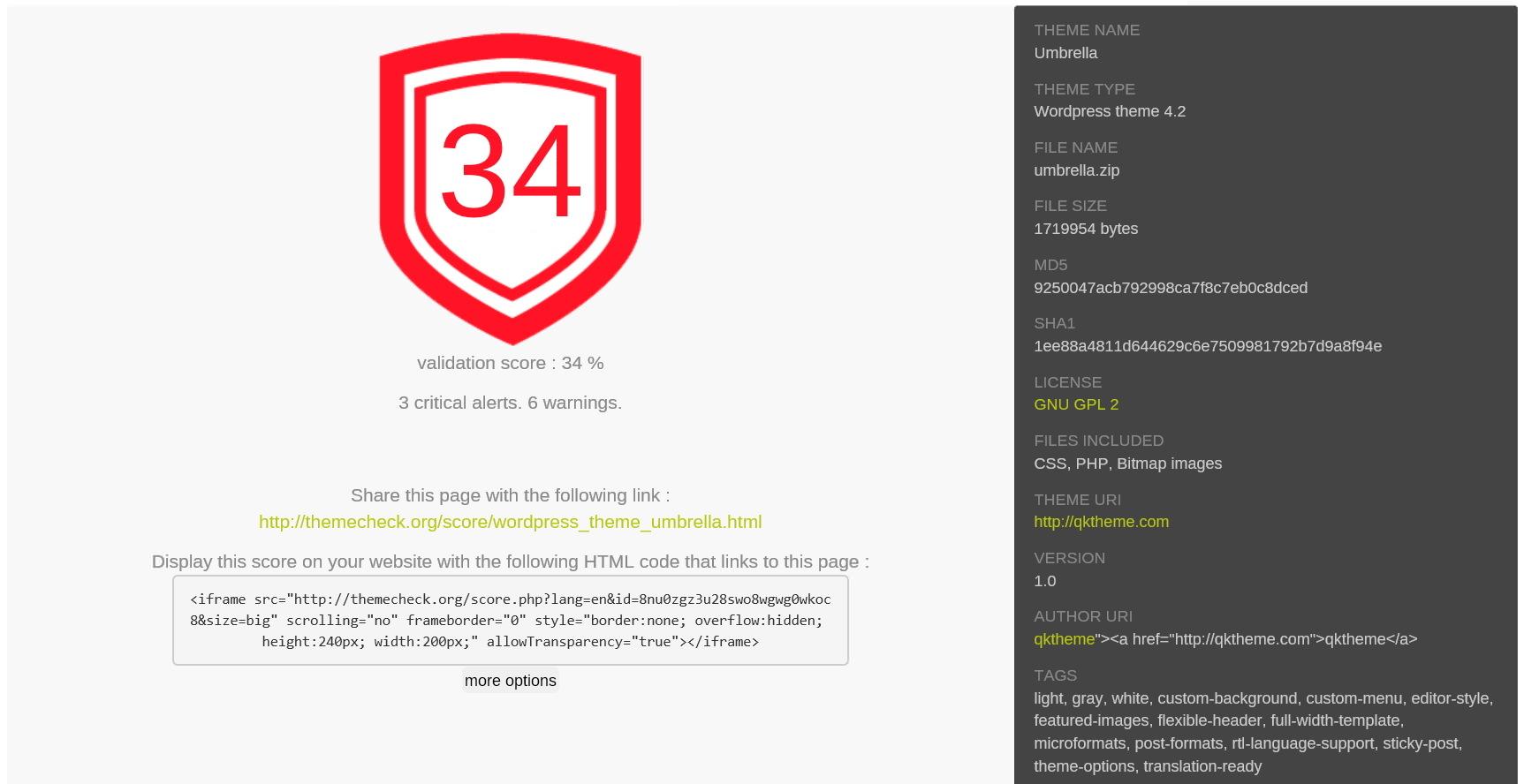 ThemeCheck.org — сервис для проверки безопасности тем для WordPress