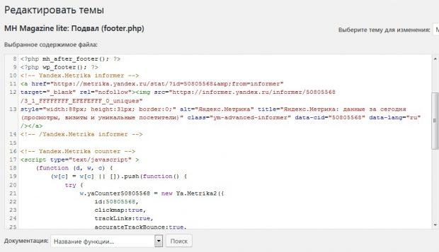 Вставка кода Яндекс Метрики на сайт WordPress